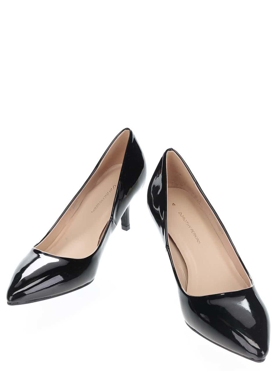 Černé lesklé lodičky na nízkém podpatku Dorothy Perkins ... 0ff5b969f7