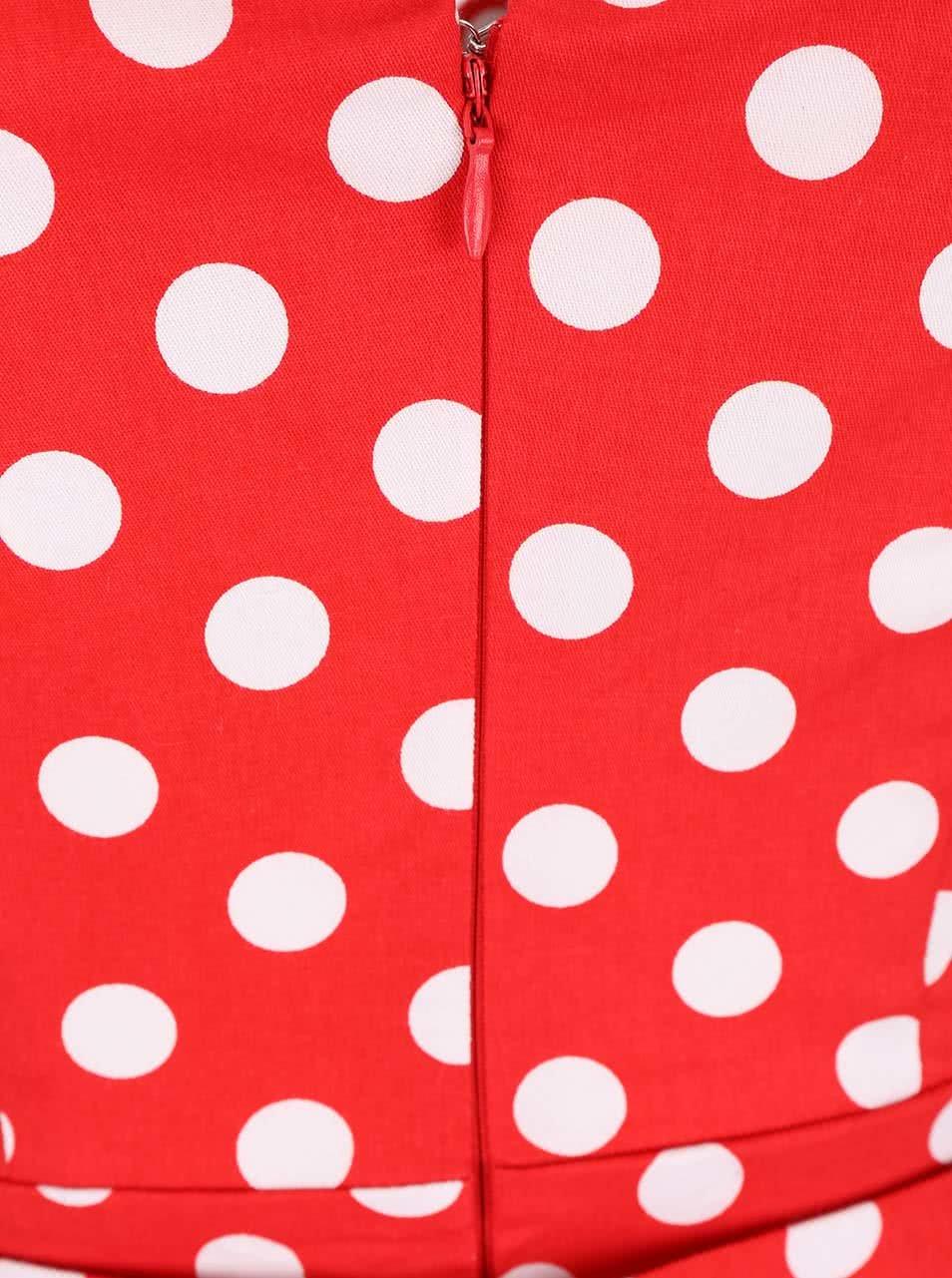ef29341c4022 Červené bodkované šaty s véčkovým výstrihom Dolly   Dotty May ...