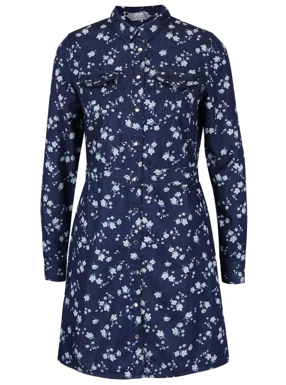 f4fc744d867e Tmavomodré rifľové košeľové šaty s kvetinovým vzorom Dorothy Perkins ...