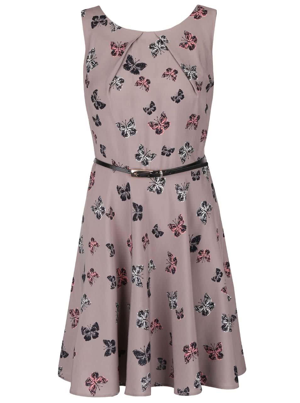 0309c9b1cab9 Sivohnedé šaty s potlačou motýľov Apricot ...