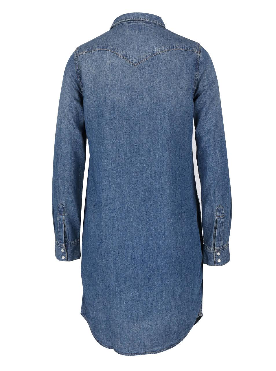 Modré džínové šaty s dlouhým rukávem Levi s® ... 51bab1726b