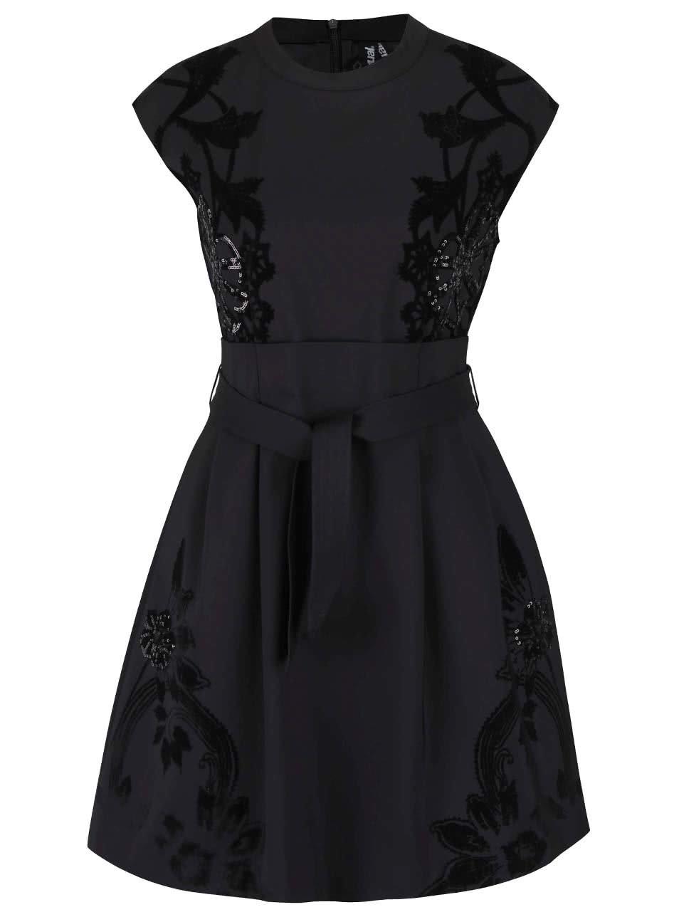 6ce12fb67 Čierne šaty s mašľou a flitrami Desigual Serena | ZOOT.sk