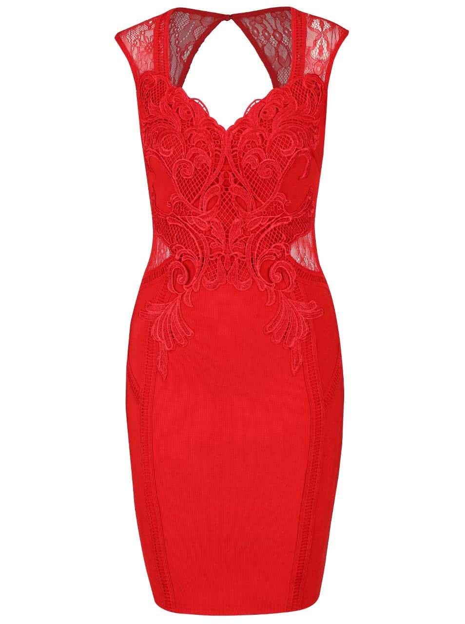 bd58541cadf8 Červené puzdrové šaty s čipkou Lipsy ...