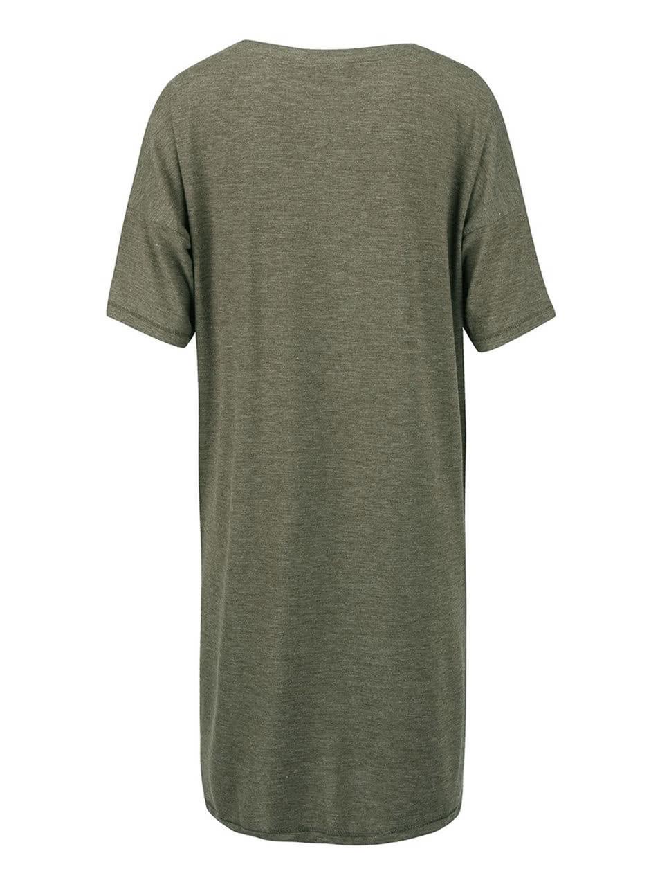578a2560a29f Kaki melírované voľnejšie dlhé tričko VERO MODA Ida ...