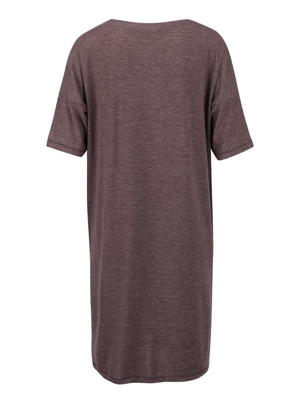 b4de08e6972 Fialové žíhané volnější dlouhé tričko s rozparkem VERO MODA Ida ...