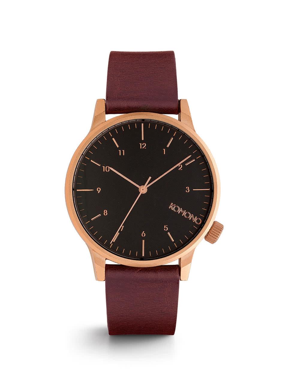 Unisex hodinky s vínovým koženým páskem Komono Winston Regal