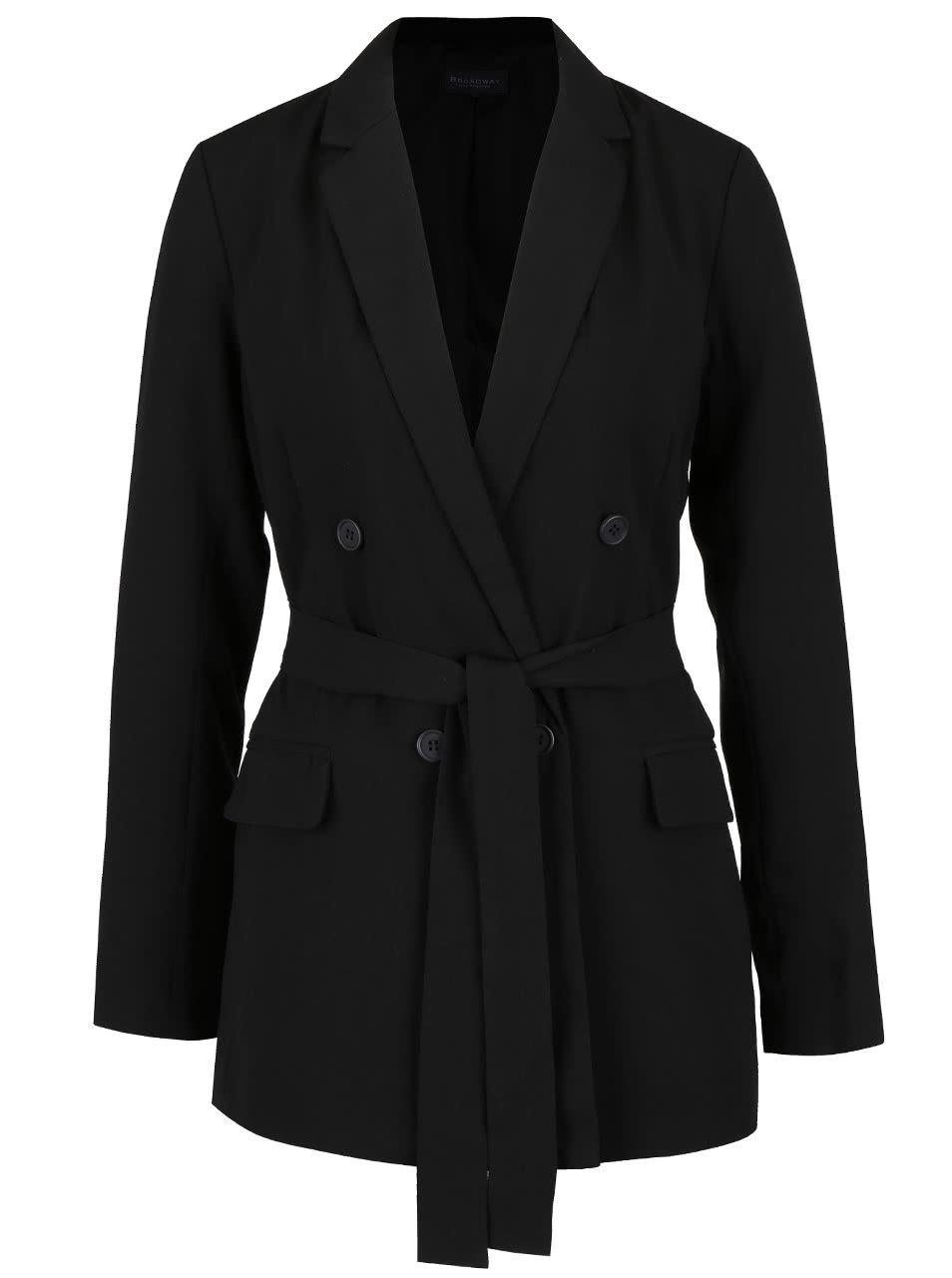 Čierny dámsky kabát s opaskom Broadway Noela ... 095517ff79c