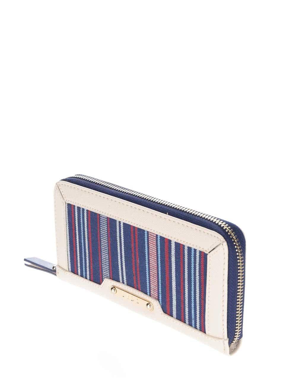 5bdf057ec3 Krémová peňaženka s červeno-modrými pruhmi LYDC ...