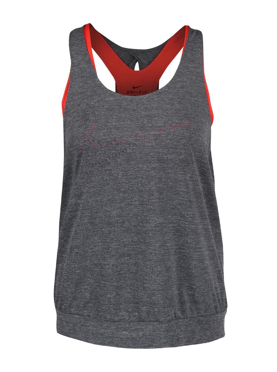 Sivé melírované dámske tielko s červenou podprsenkou 2 v 1 Nike Training ... 9ccd86fbab