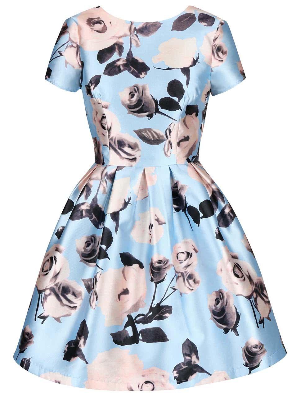 751c1f46e2d8 Svetlomodré kvetinové šaty s krátkymi rukávmi Chi Chi London Cassia ...