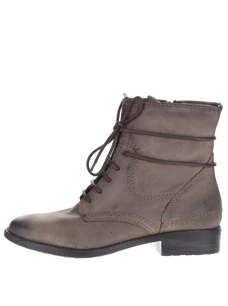 Sivohnedé kožené členkové topánky na šnurovanie a zips Tamaris ... 7b8dc0756c5