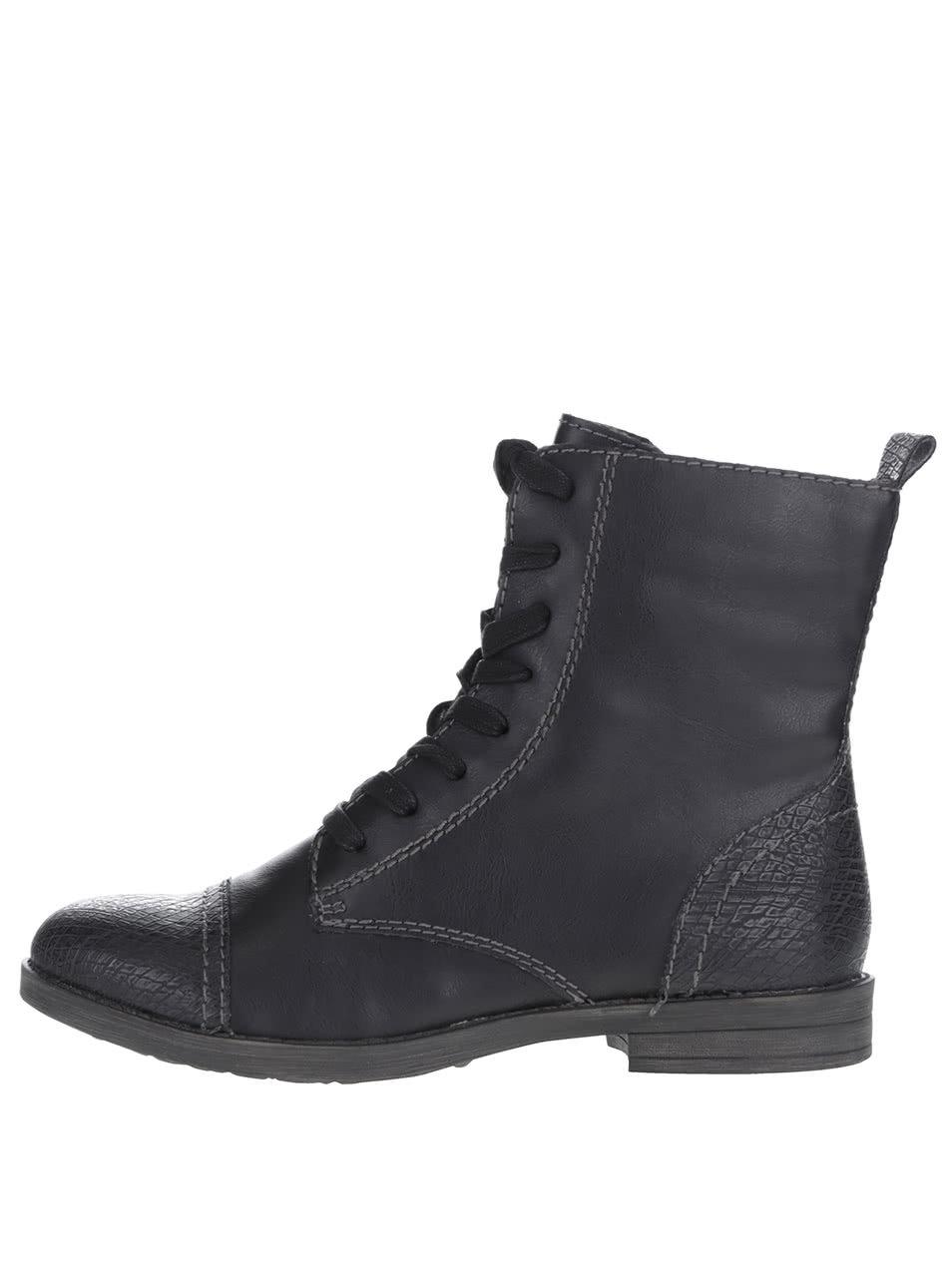 Čierne členkové šnurovacie topánky Tamaris ... 2398dba977b