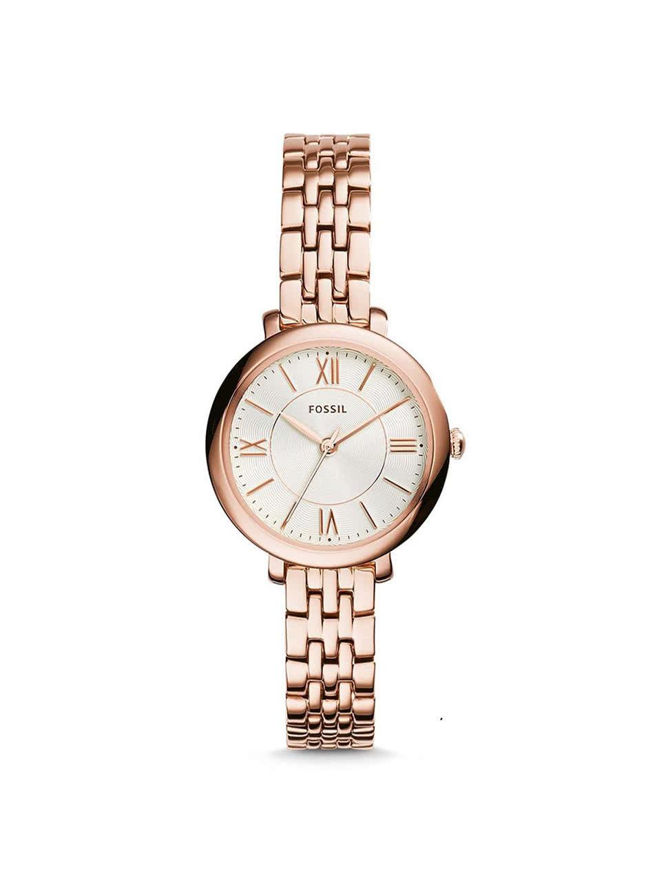 Dámské hodinky v růžovo-zlaté barvě s nerezovým páskem Fossil ... b24ff25e3f