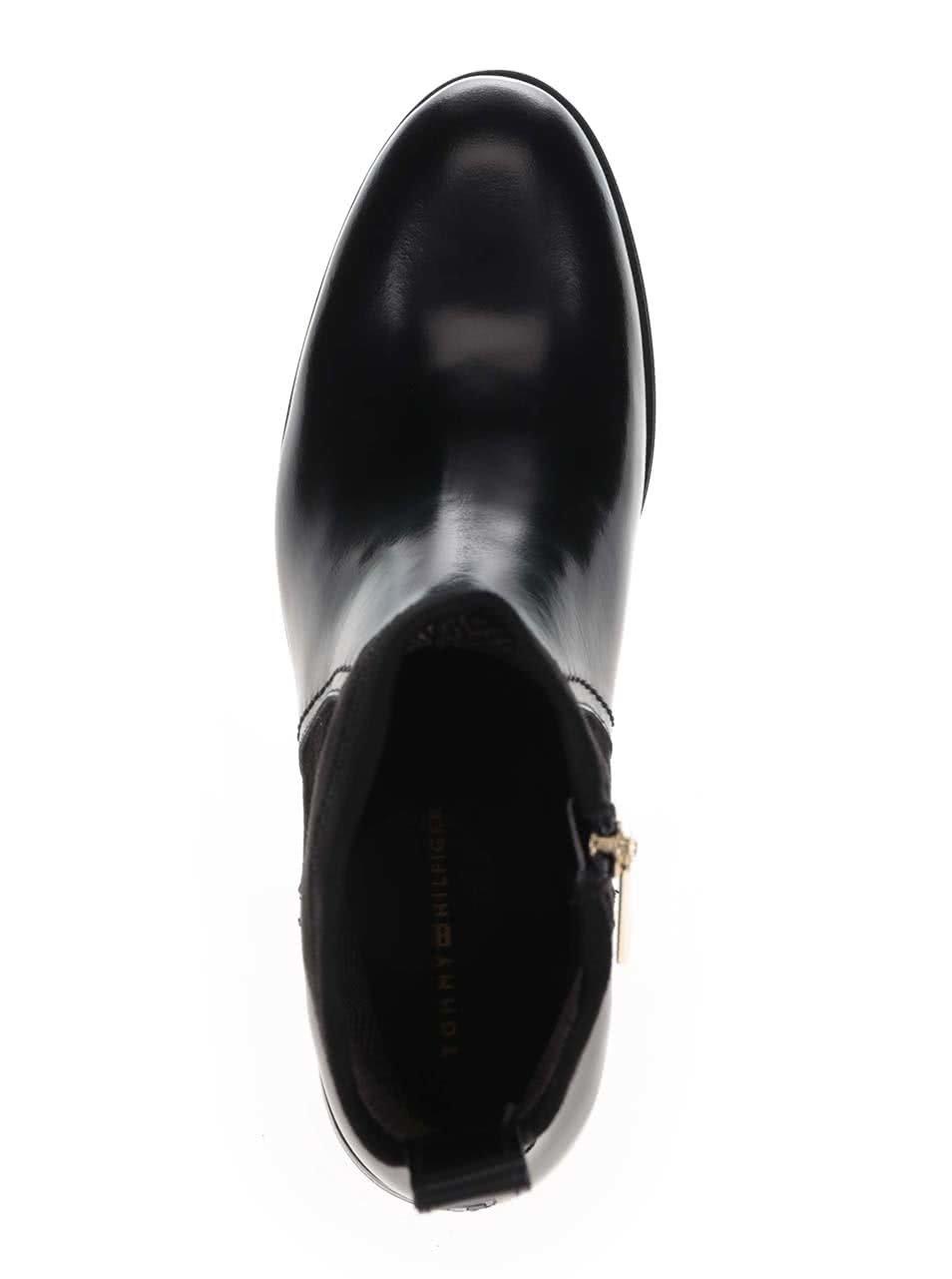 9f3839731d Čierne členkové dámske kožené topánky Tommy Hilfiger ...