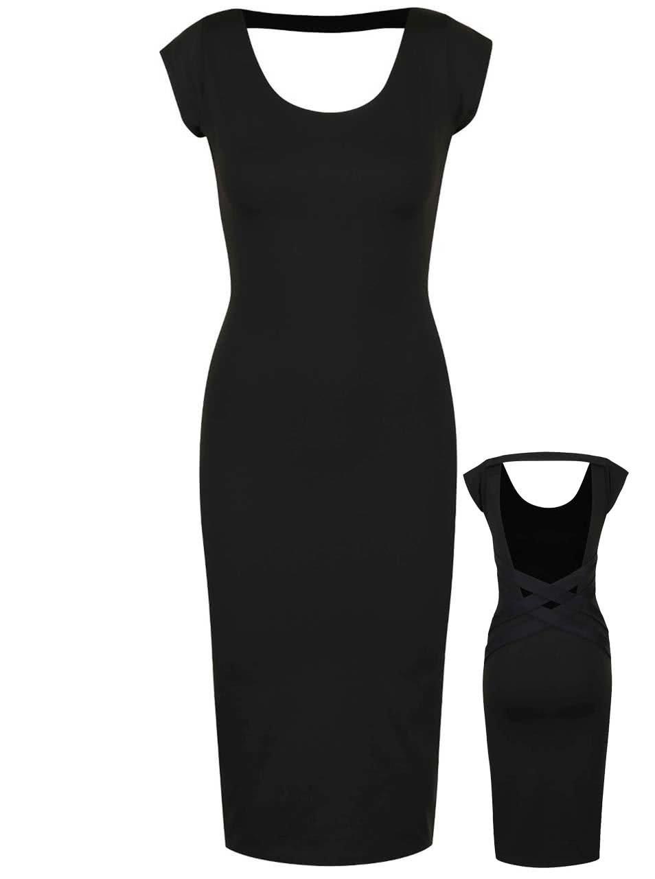 e4101b8c15bf Černé elastické šaty s odhalenými zády Quontum ...