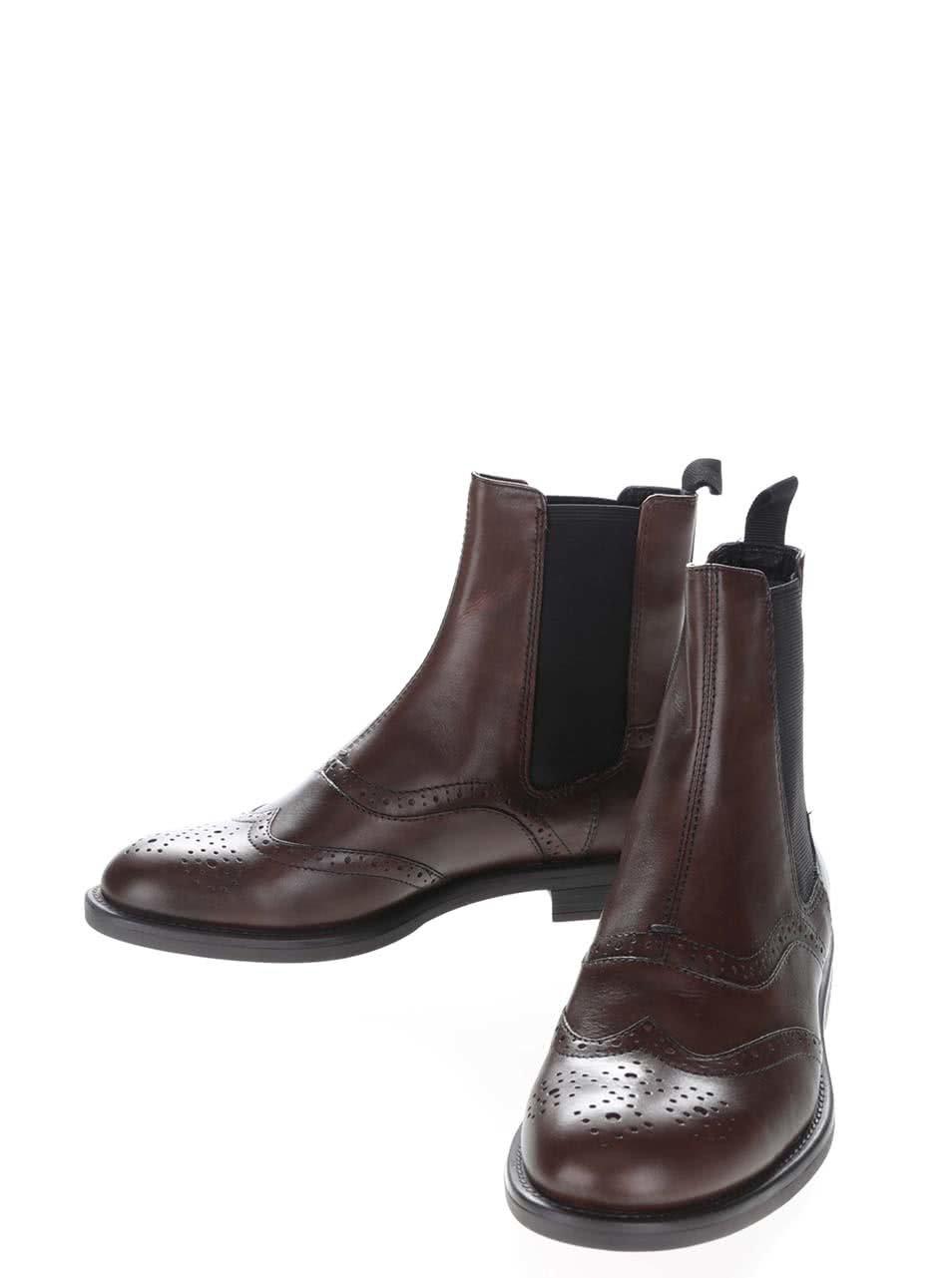 99ab9ce8048 Hnědé dámské kožené chelsea boty s brogue detaily Vagabond Amina ...