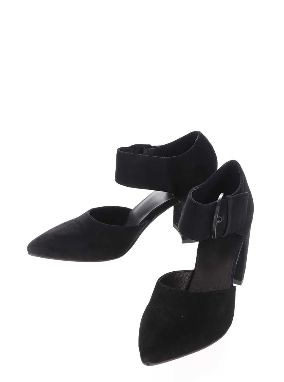 Černé semišové boty na podpatku se širokým páskem Vagabond Saida ... 6ebf5f3890