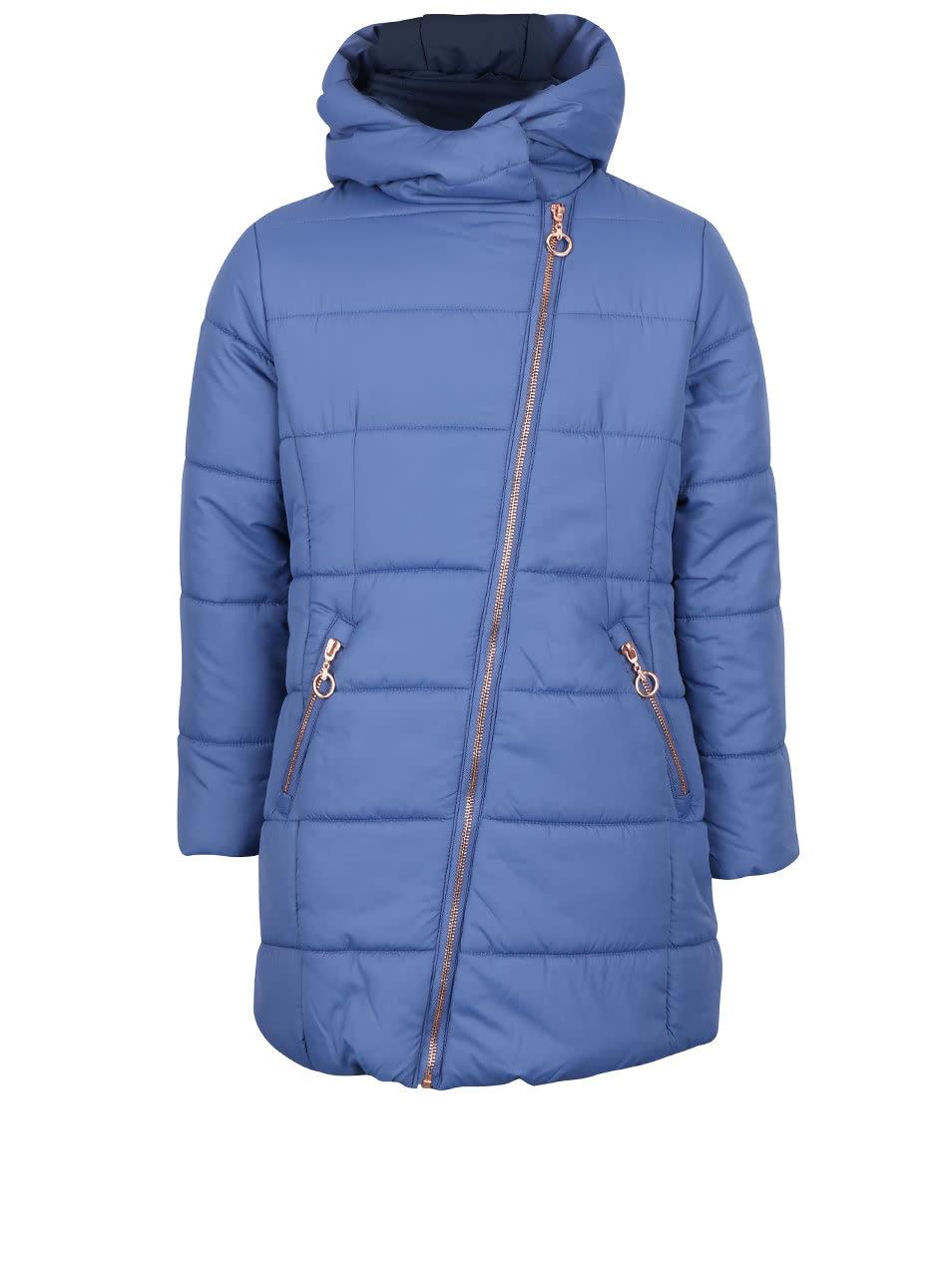 3b7bf1817b2c Modrý dievčenský prešívaný kabát s asymetrickým zipsom 5.10.15 ...