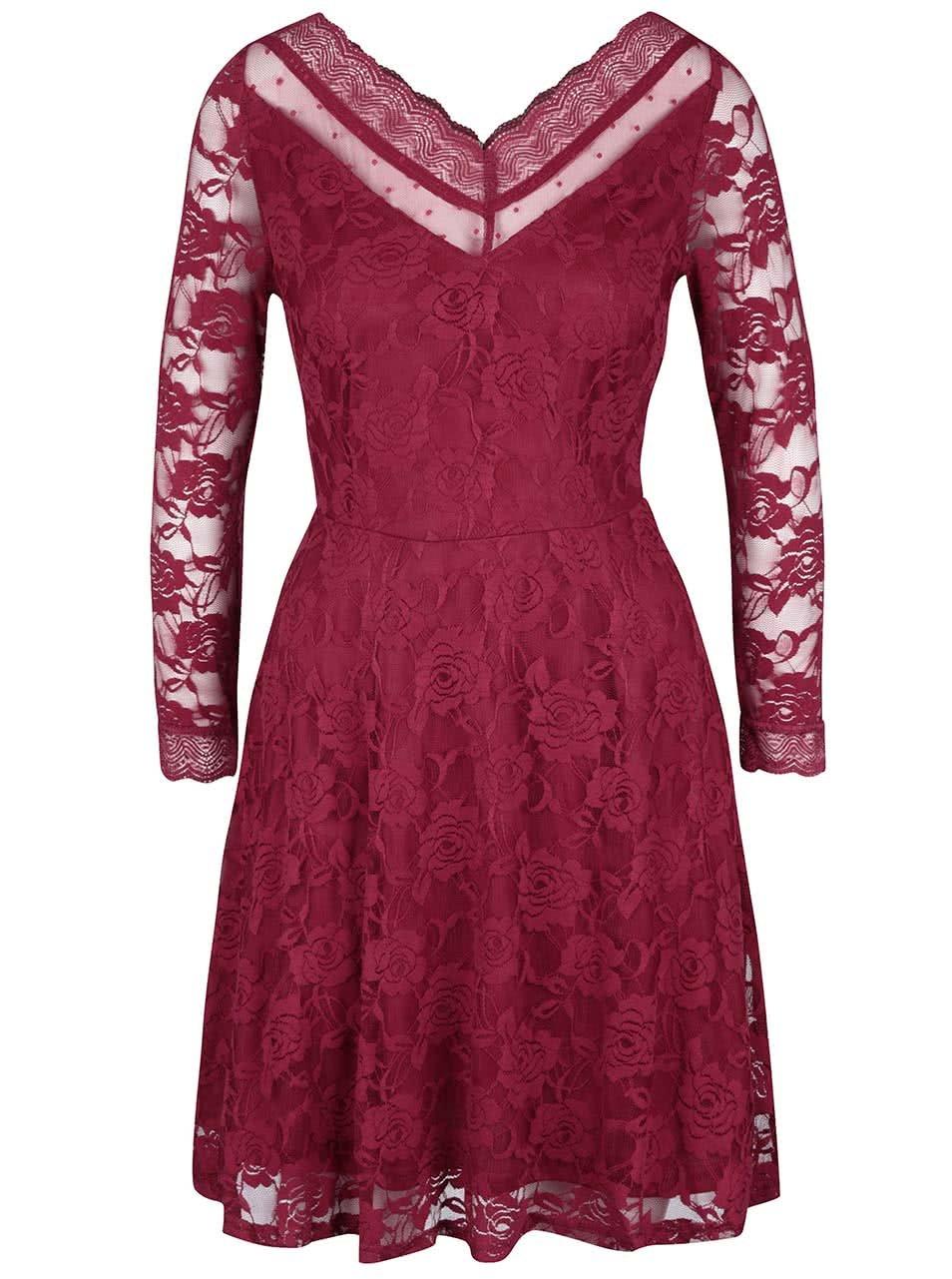 Červené čipkované šaty s dlhým rukávom Mela London ... ca1231fb6bf