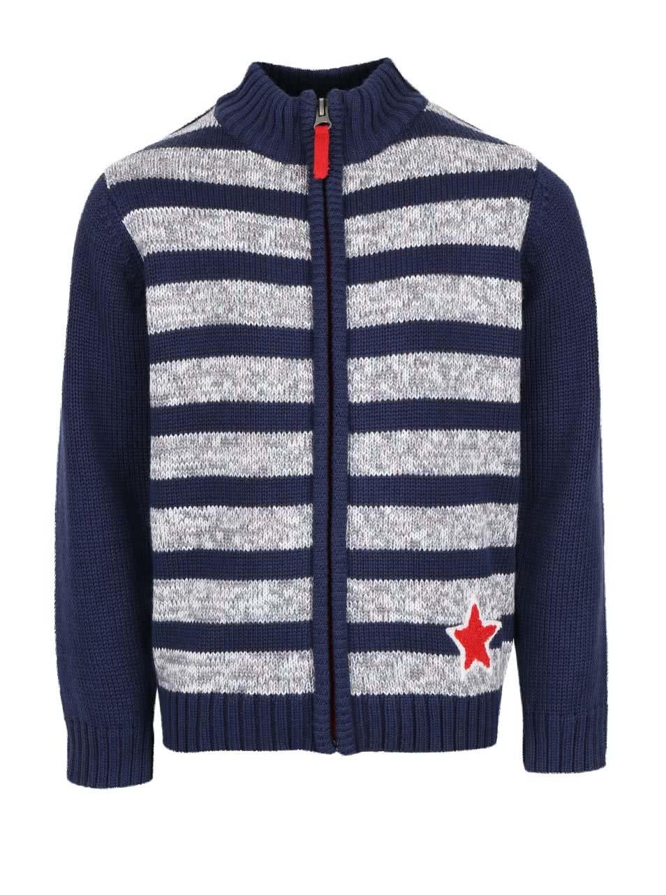 60db54808e5b Tmavomodrý chlapčenský pruhovaný sveter na zips Blue Seven ...