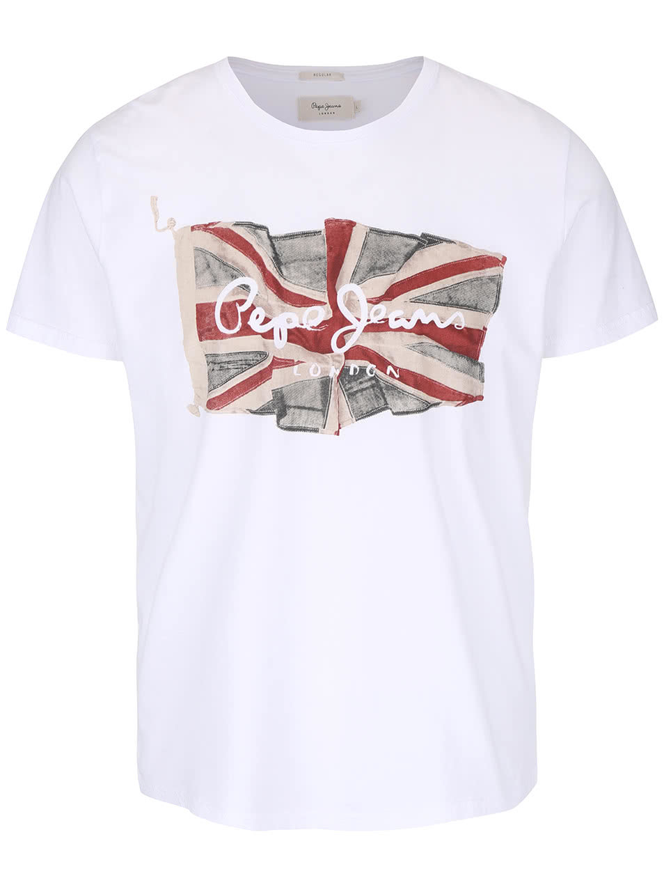 d5d7f9074a4 Bílé pánské triko s potiskem Pepe Jeans Flag logo ...