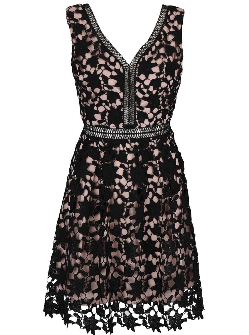 Čierne čipkované šaty s hlbokým výstrihom na chrbte Apricot ... 983d56e08eb