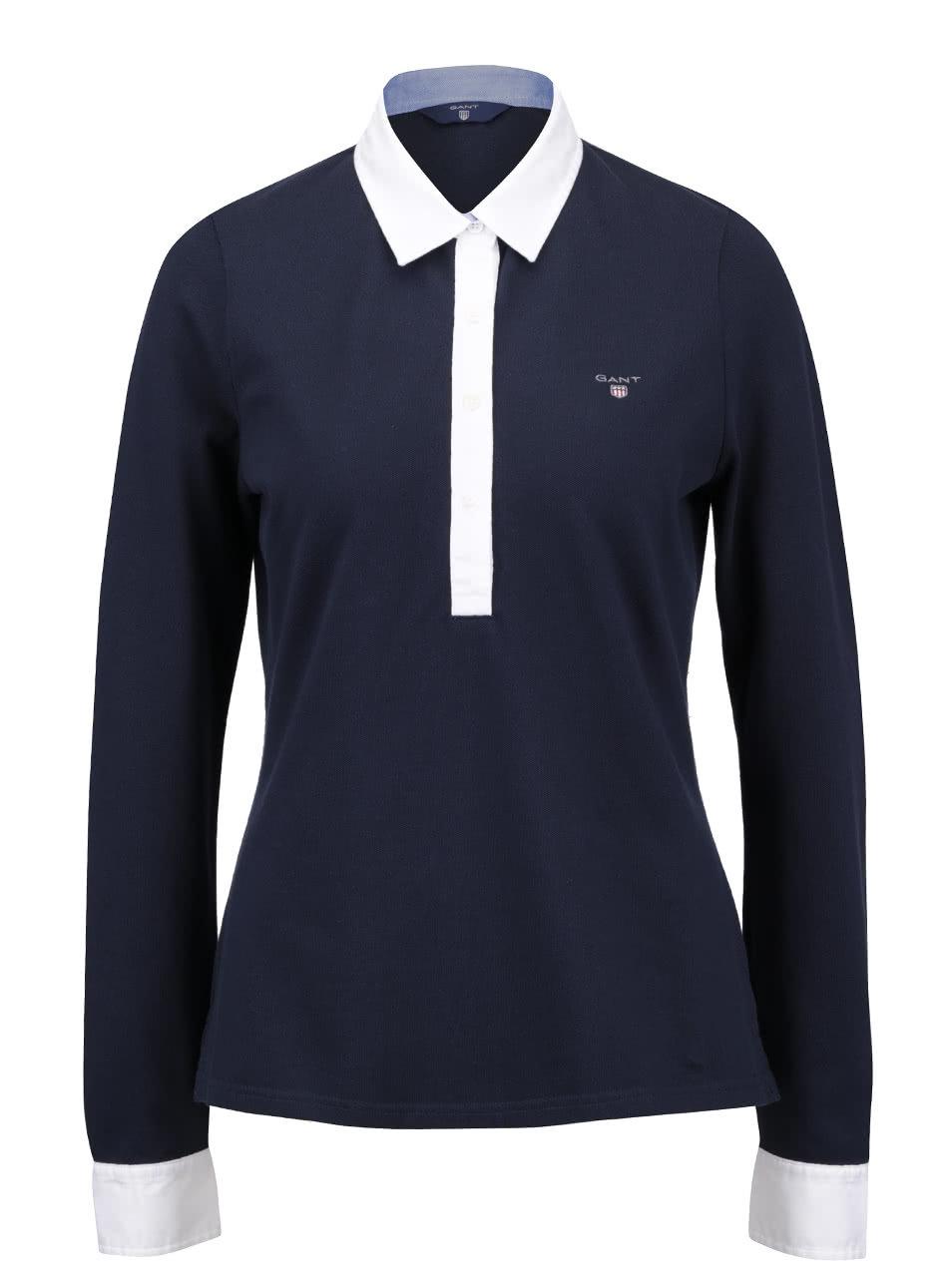 f9f387a0052 Tmavě modré dámské polo tričko s dlouhým rukávem GANT ...