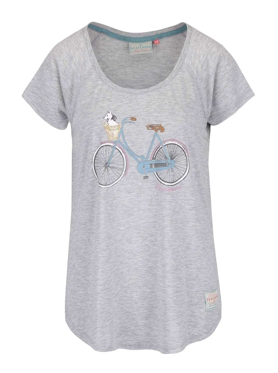 Sivé žíhané oversize tričko s potlačou Brakeburn Basket Bike ... 9f39cd97e18