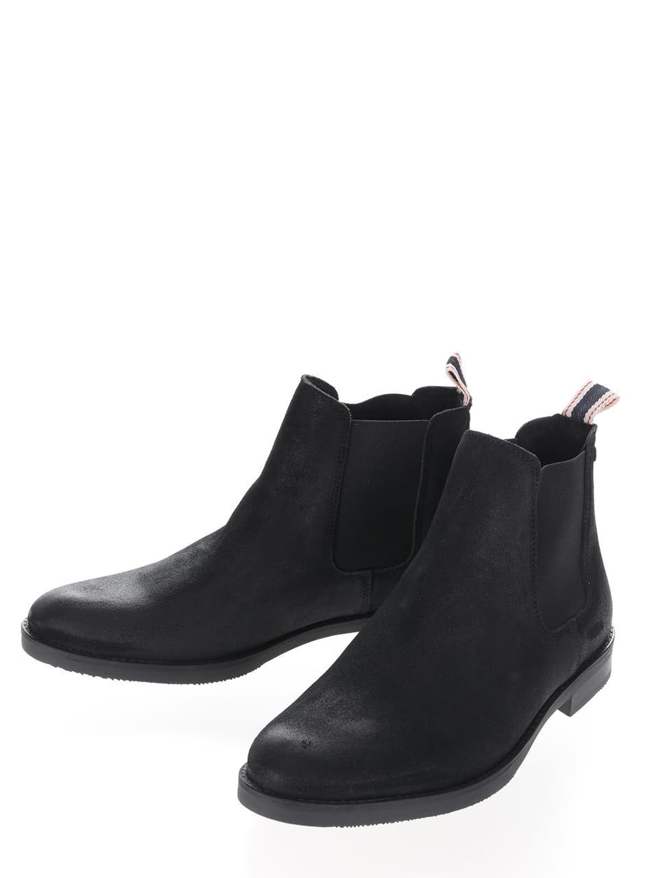 501393cbee6d Čierne členkové chelsea topánky z brúsenej kože Jack   jones Paul ...