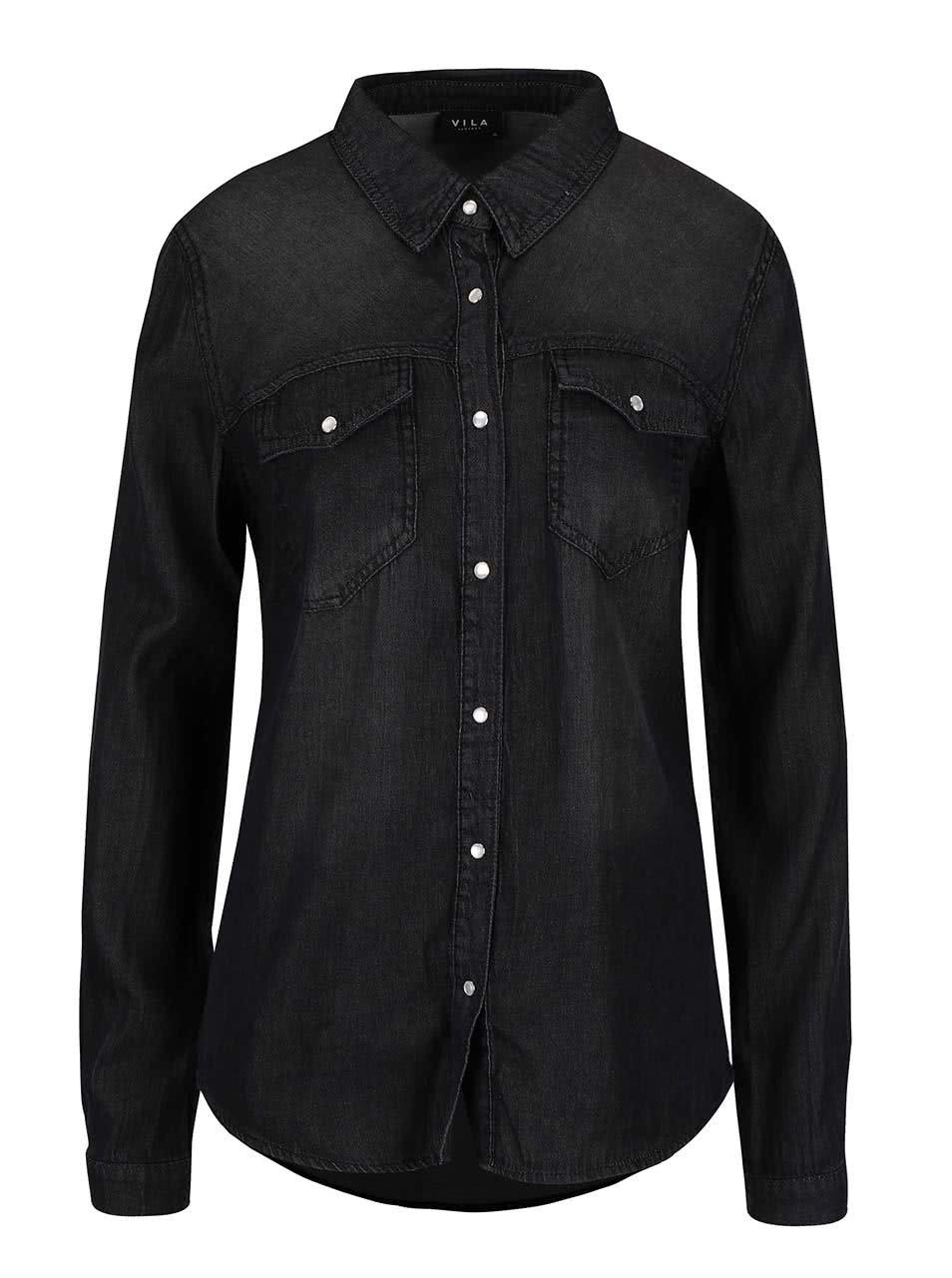c6098d148459 Čierna rifľová košeľa s dlhým rukávom VILA Bista ...
