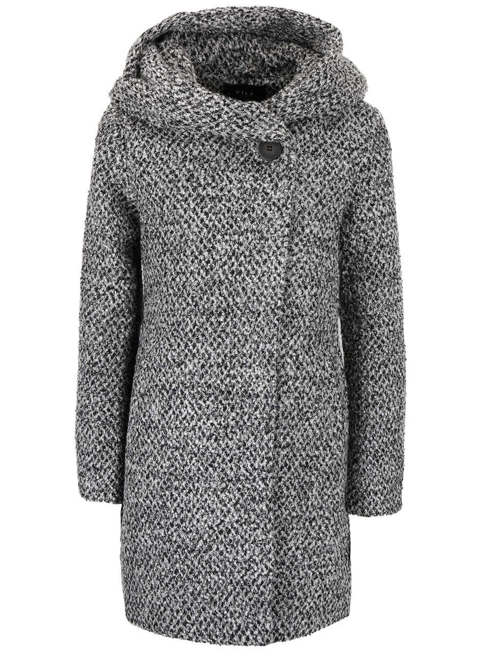 85eb6059b Čierno-sivý žíhaný zimný kabát s veľkou kapucňou VILA Cama | ZOOT.sk