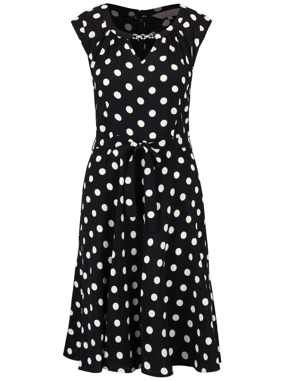 e95bf6fb53a5 Čierne šaty s bielymi bodkami a ozdobou Dorothy Perkins ...