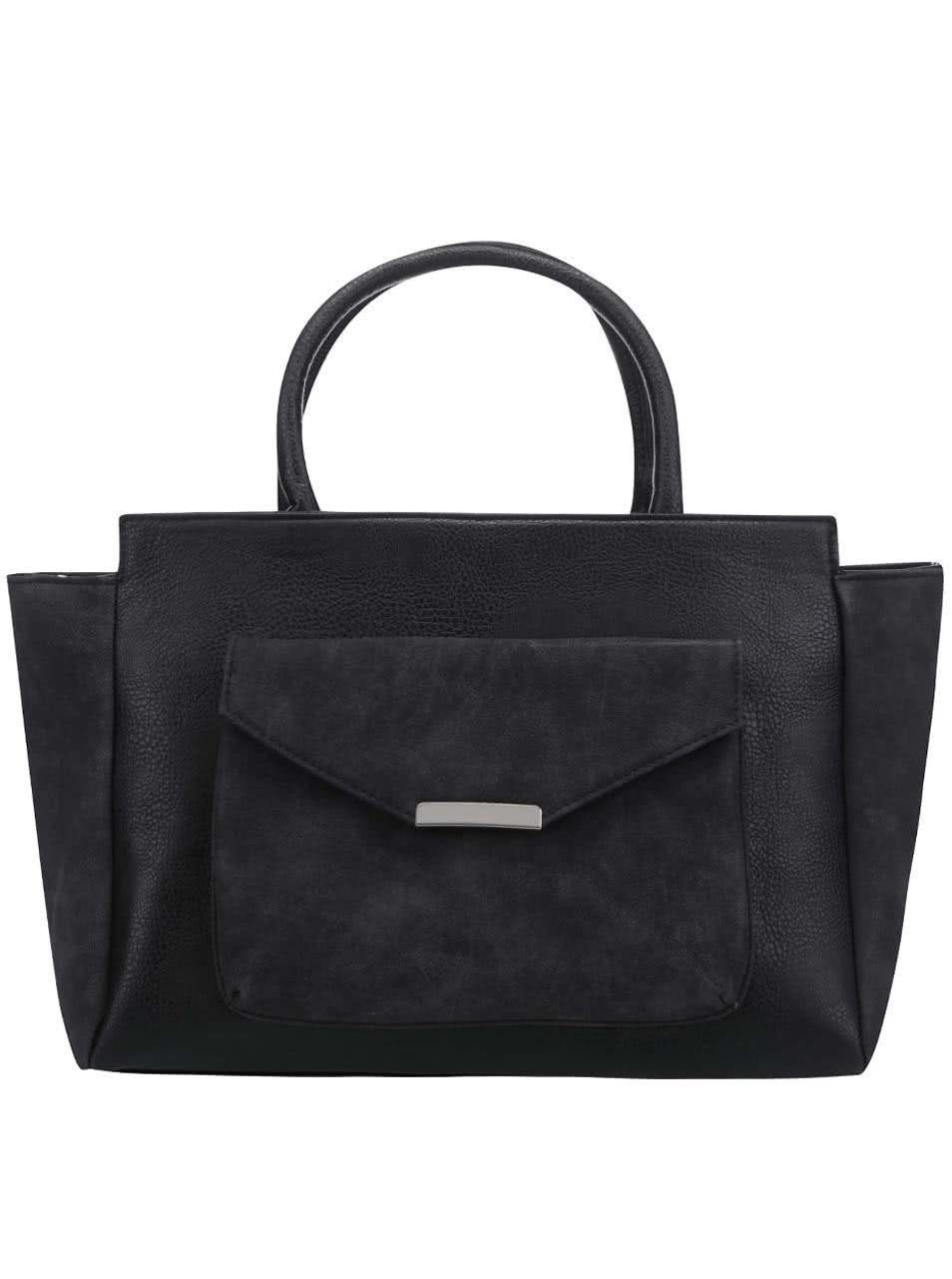 Čierna kabelka do ruky so semišovými detailmi Pieces Paura ... 8e6abdb937e