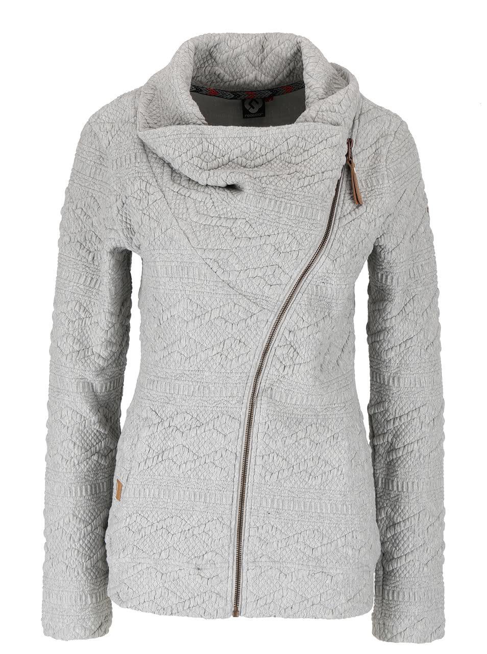 Světle šedá dámská mikina s asymetrickým zipem Ragwear Swing B ... 42a6a819c3