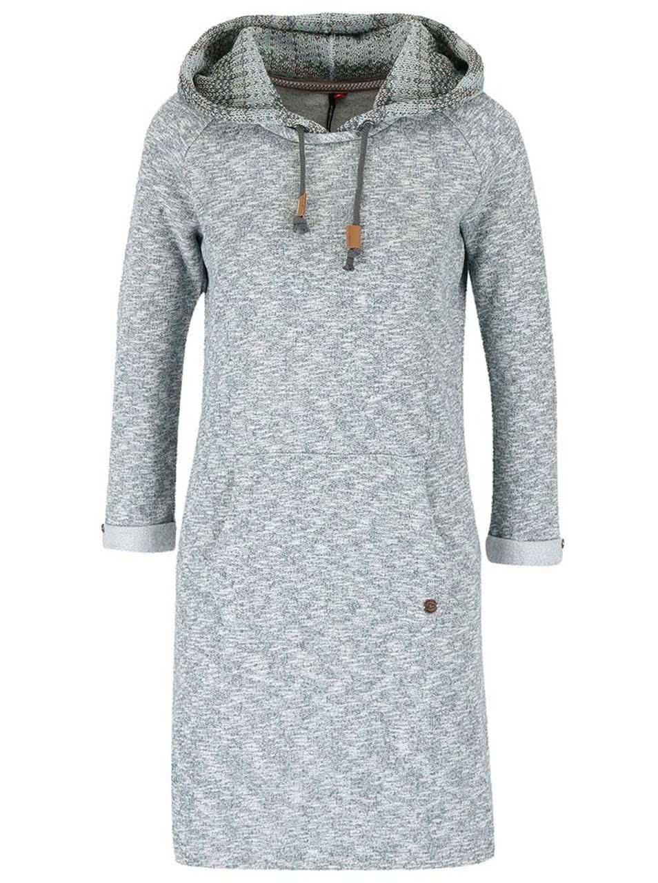 Tyrkysové melírované mikinové šaty s pletenou kapucňou Ragwear Bess ... 10426feead