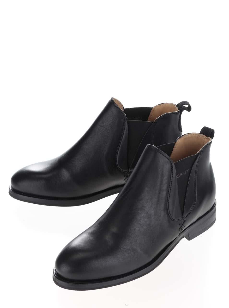 Čierne dámske kožené členkové topánky GANT Avery ... 44dc64a2c70
