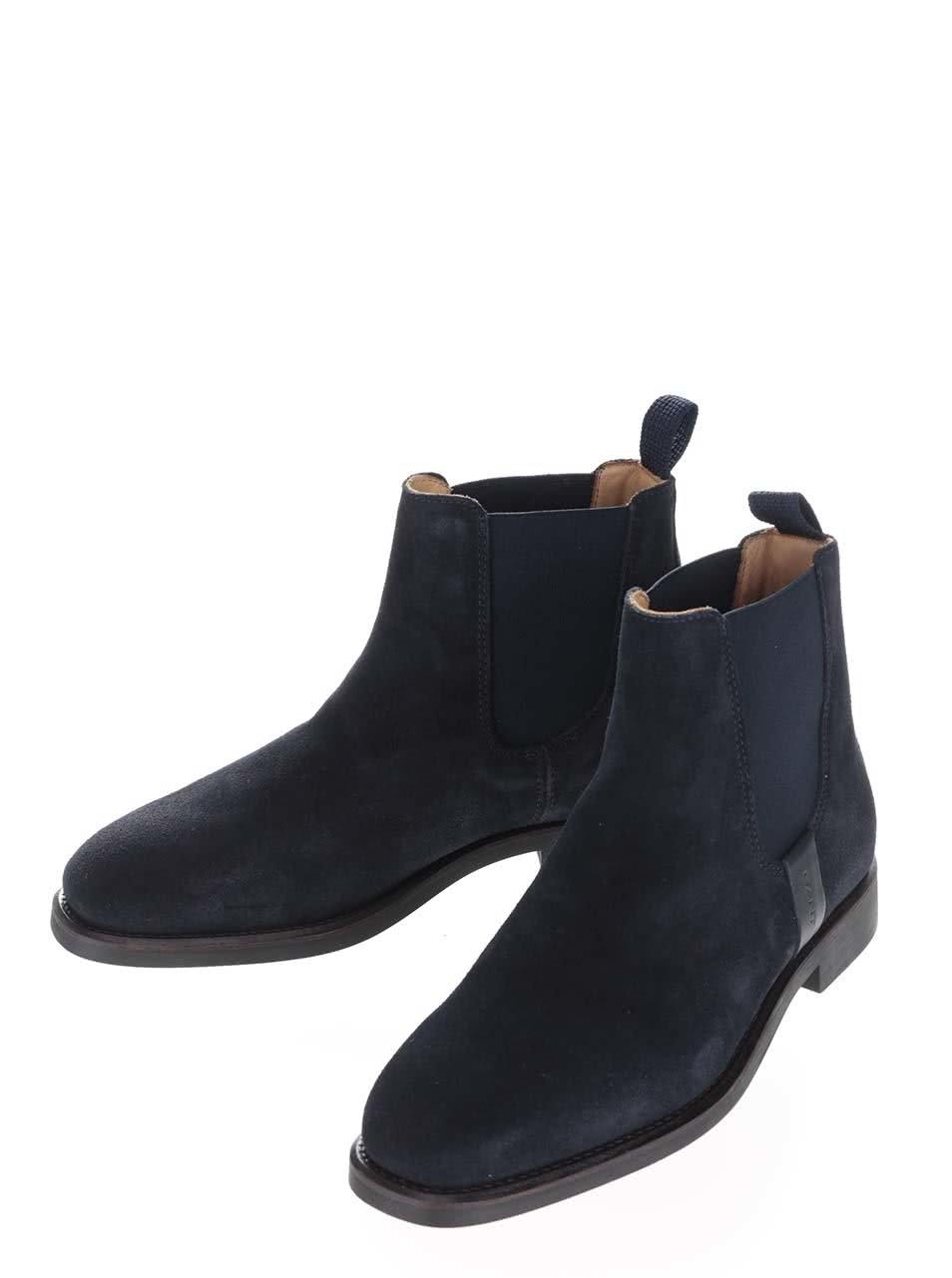 63b296d268a9 Tmavomodré dámske členkové topánky z brúsenej kože GANT Jennifer ...
