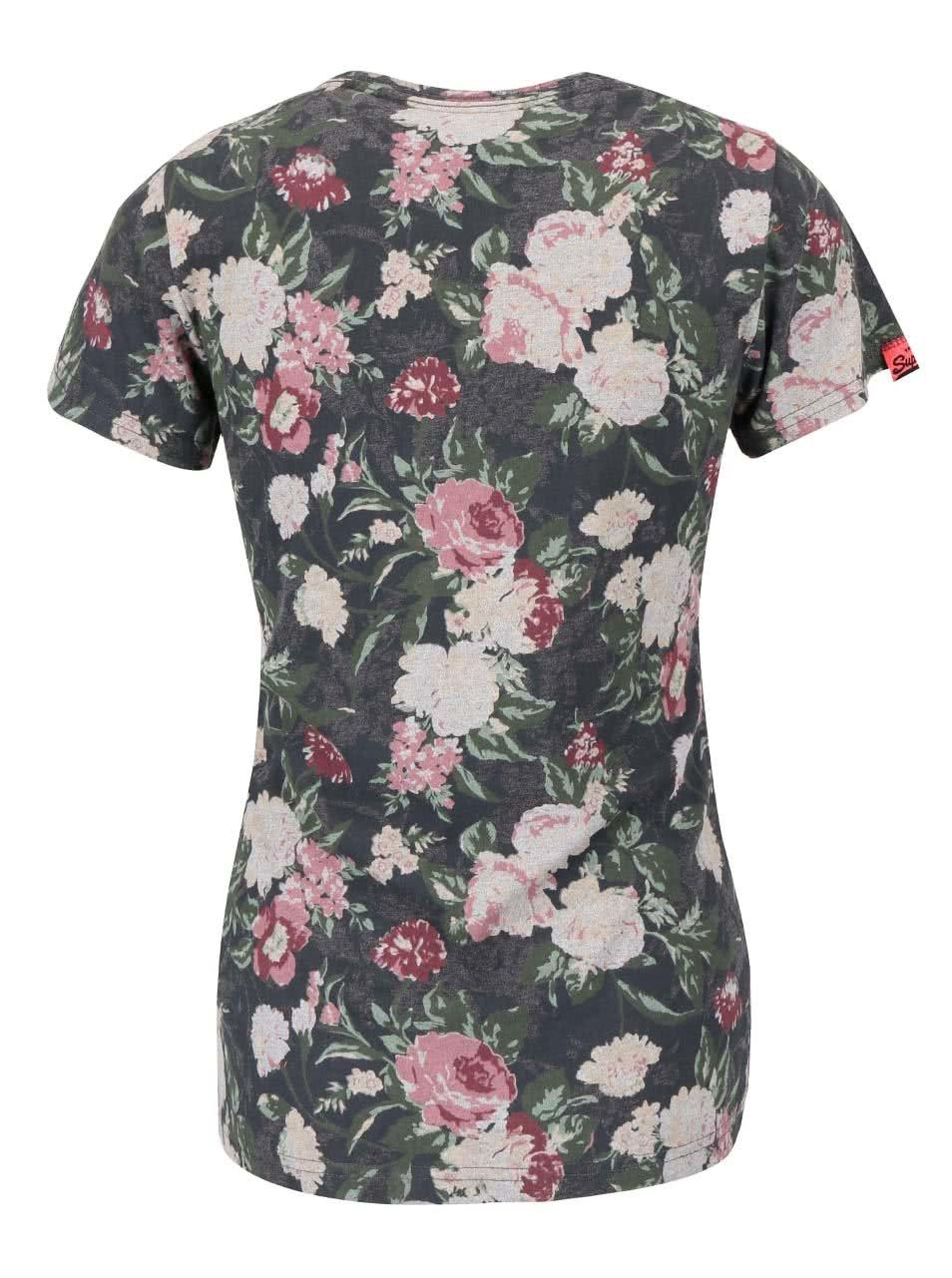 f5cf43f675c18 Zelené dámske kvetinové tričko s nápisom Superdry | ZOOT.sk
