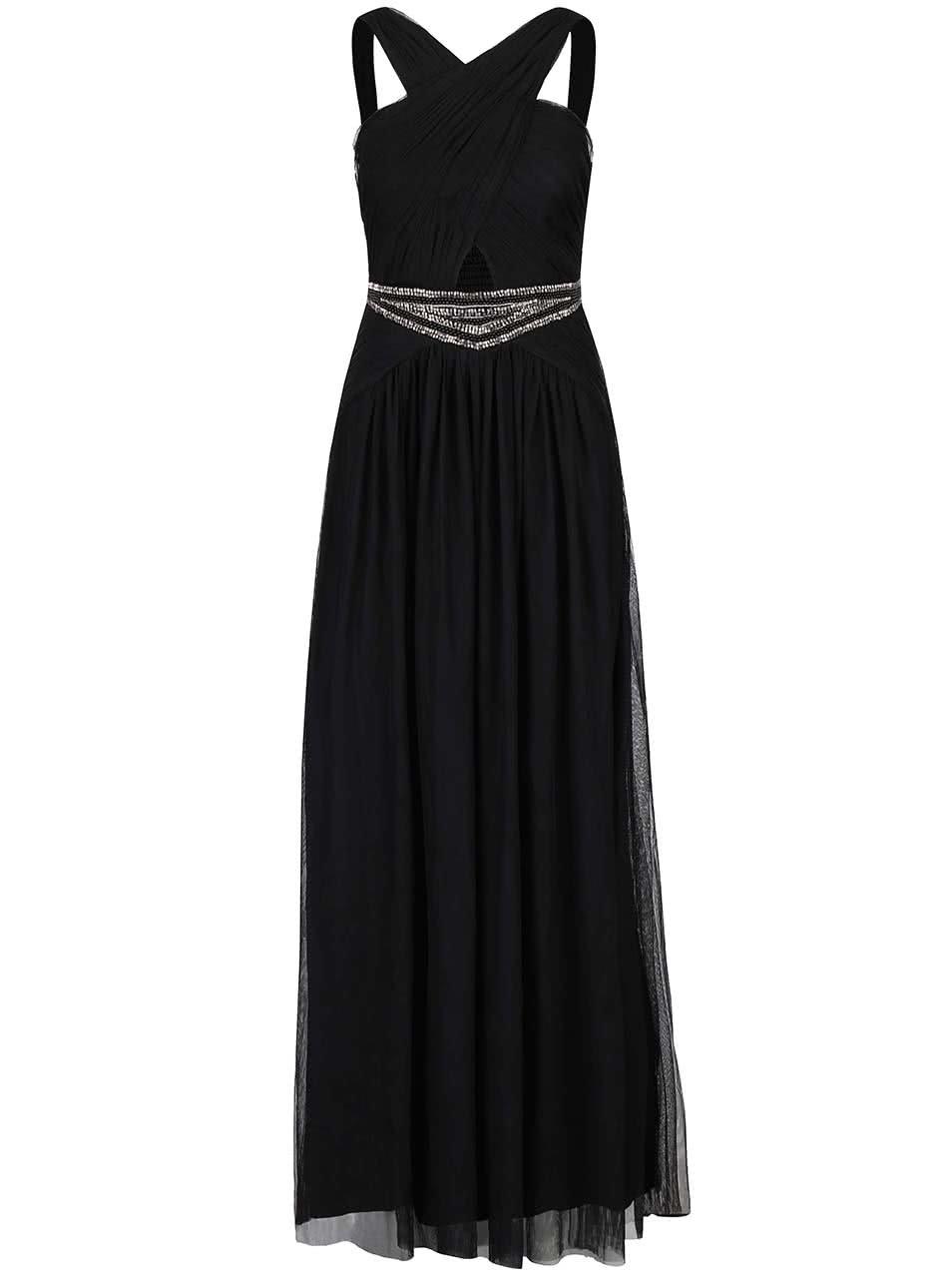 Černé dlouhé šaty s ozdobným páskem Little Mistress ... 703b0770c0