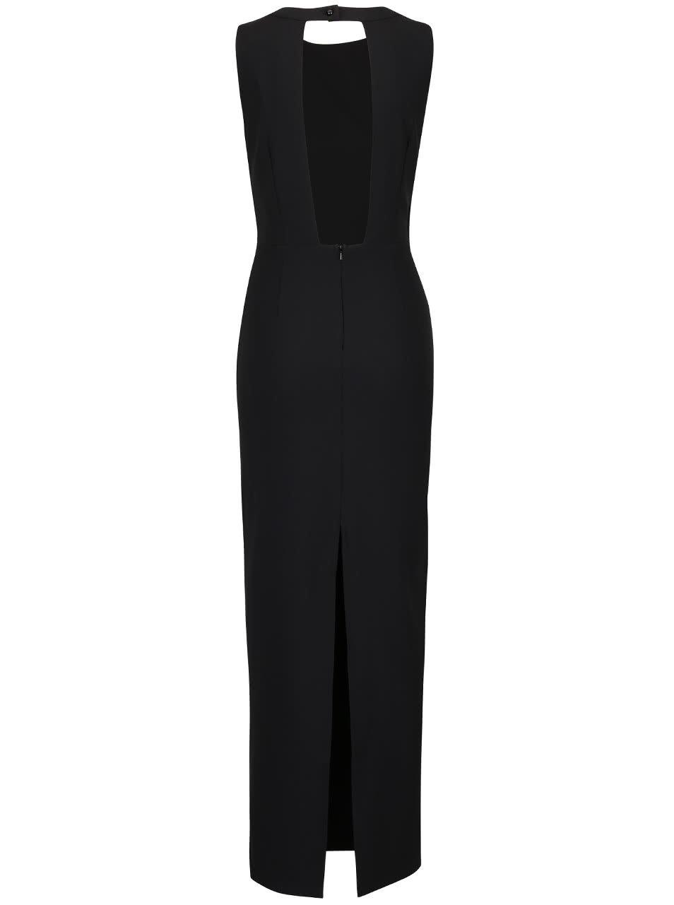 Černé dlouhé šaty s ozdobným detailem na ramenou Little Mistress ... b47e9a0bf8