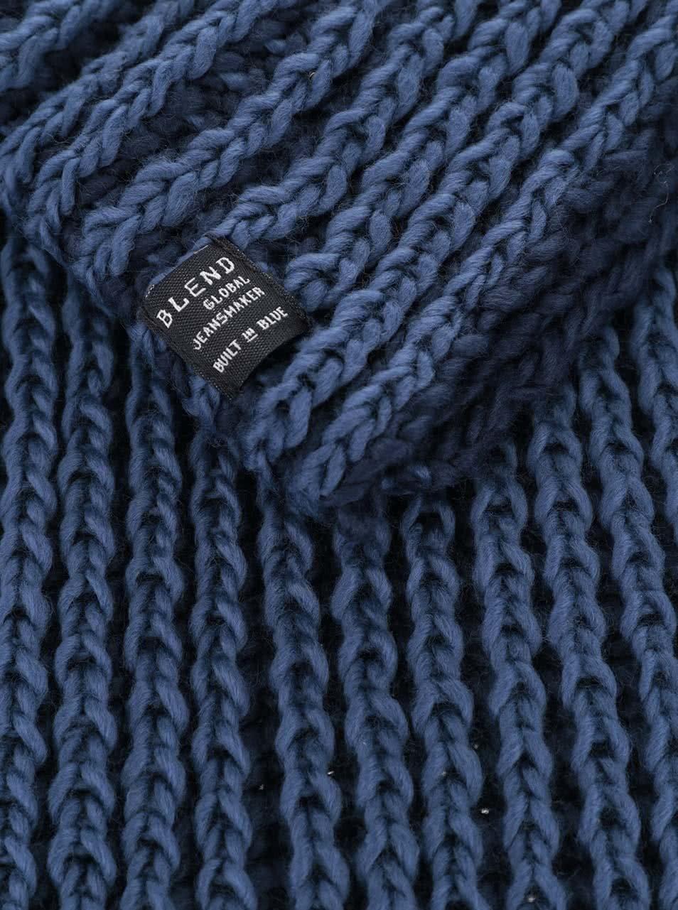 Modrá pletená dutá šála Blend ... 57826bd925