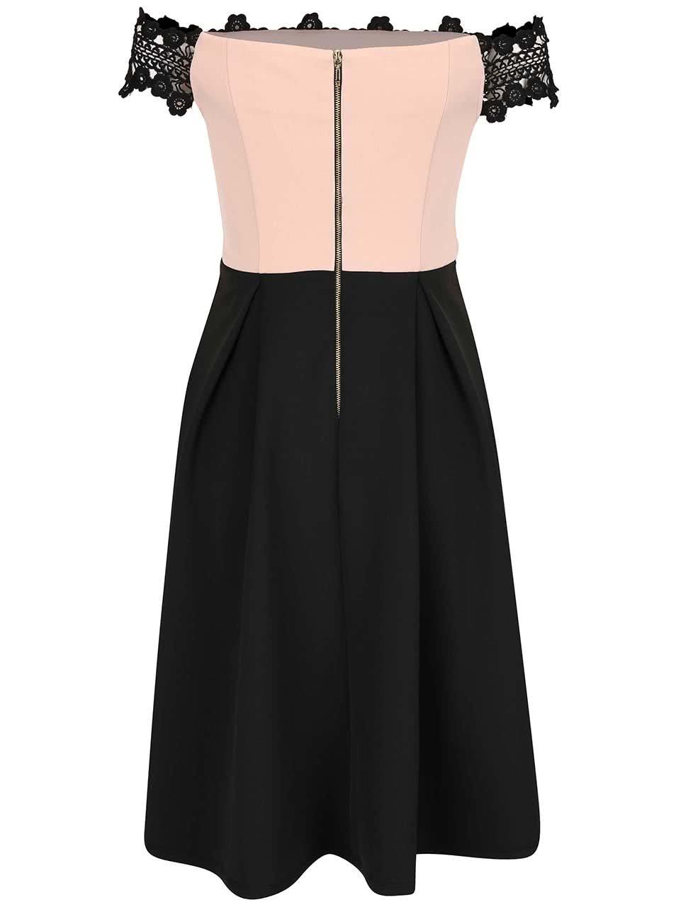 Růžovo-černé šaty s krajkou Dorothy Perkins ... 331182390b