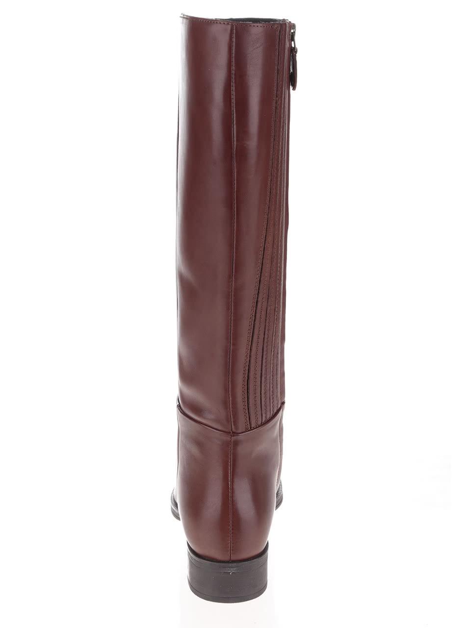 Hnedé vysoké čižmy s detailmi Geox Donna Mendit ... adf852c1703