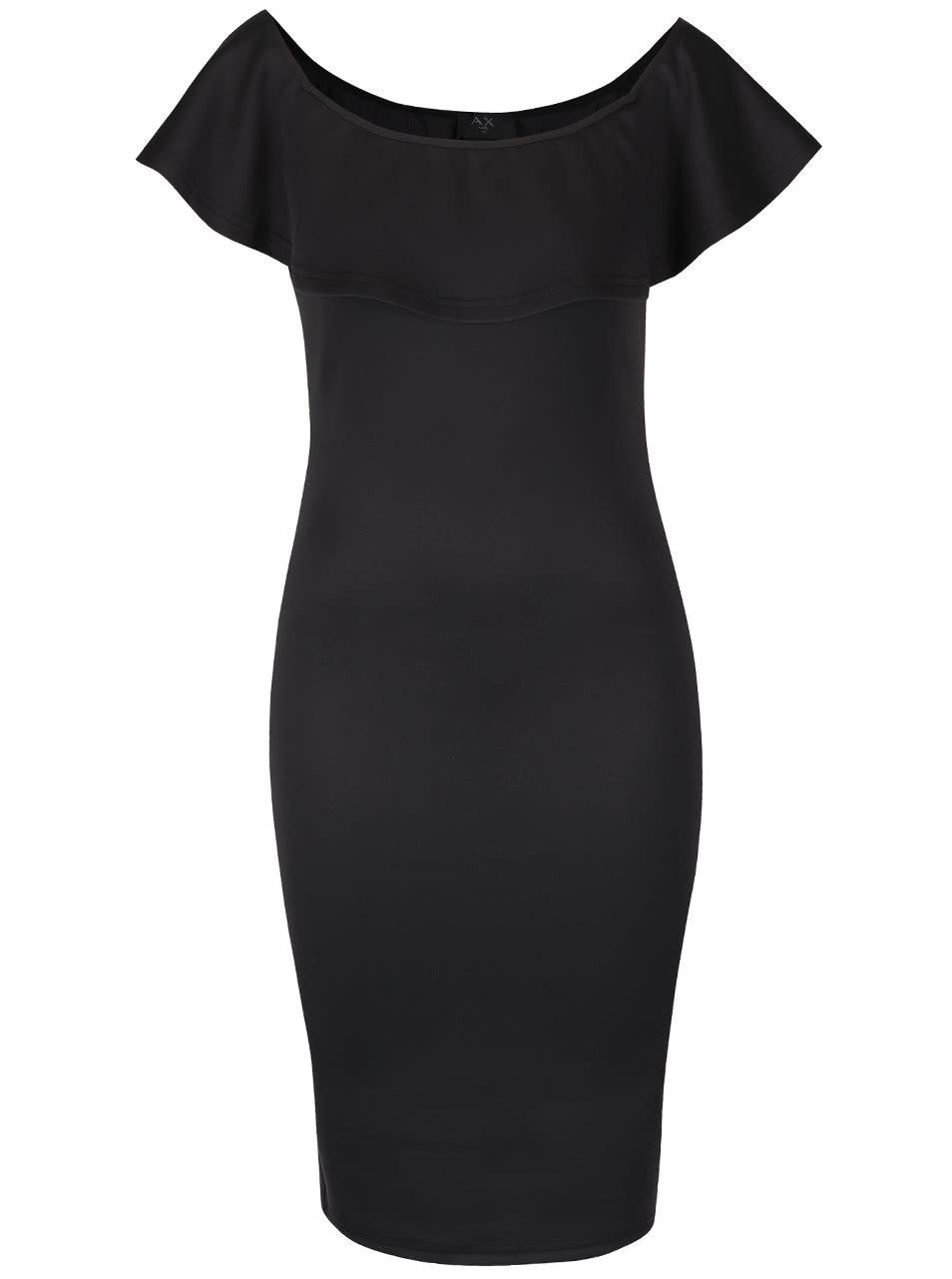 Čierne puzdrové šaty s odhalenými ramenami a volánom AX Paris ... 8b558f65610
