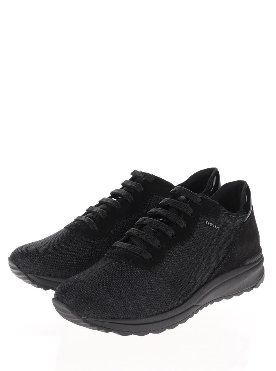 5a0ead73a54f Čierne dámske trblietavé tenisky s čiernou podrážkou Geox Airell B ...