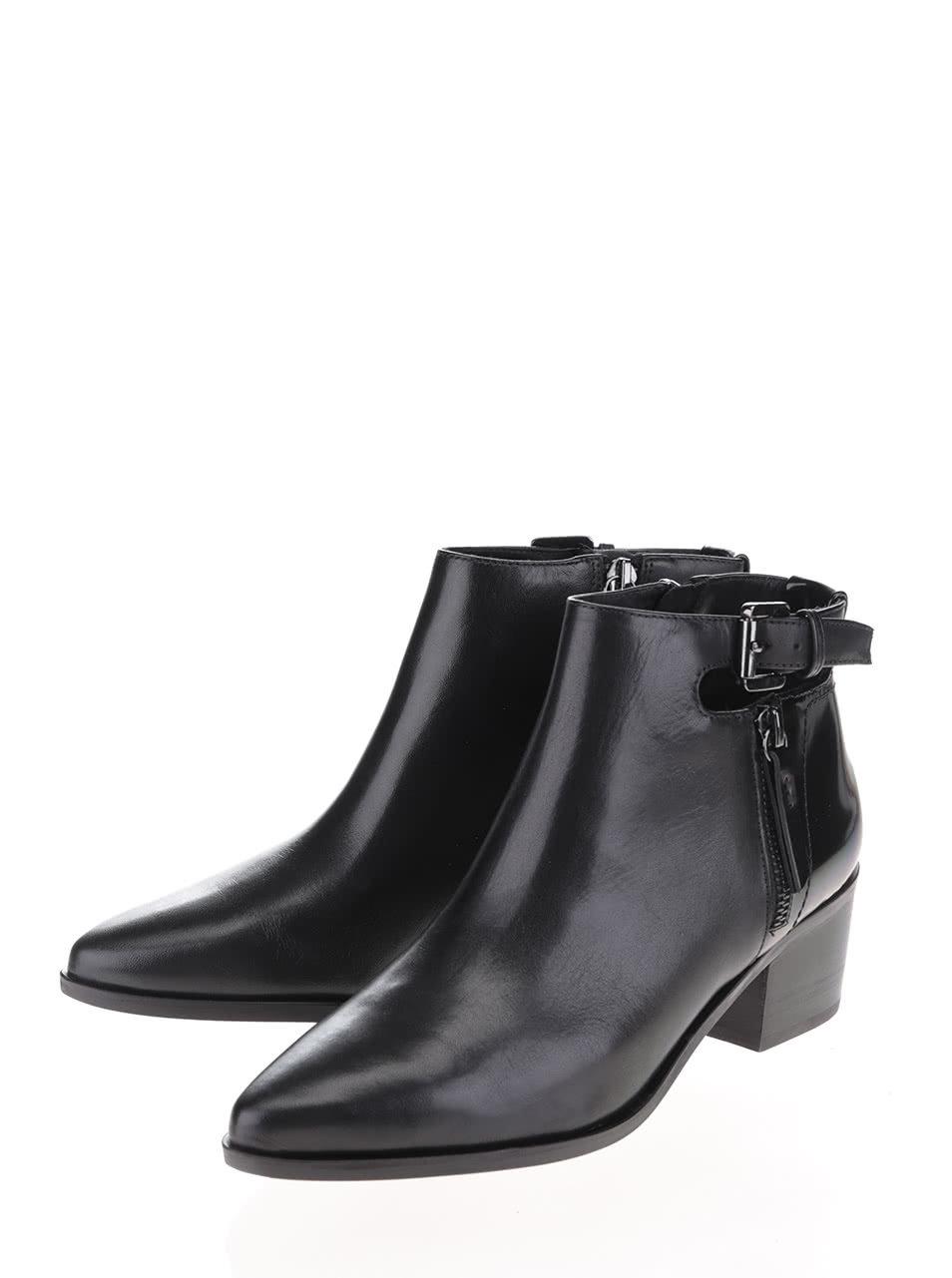 1665f0d3a76 Černé kožené kotníkové boty na podpatku s detaily Geox Lia ...