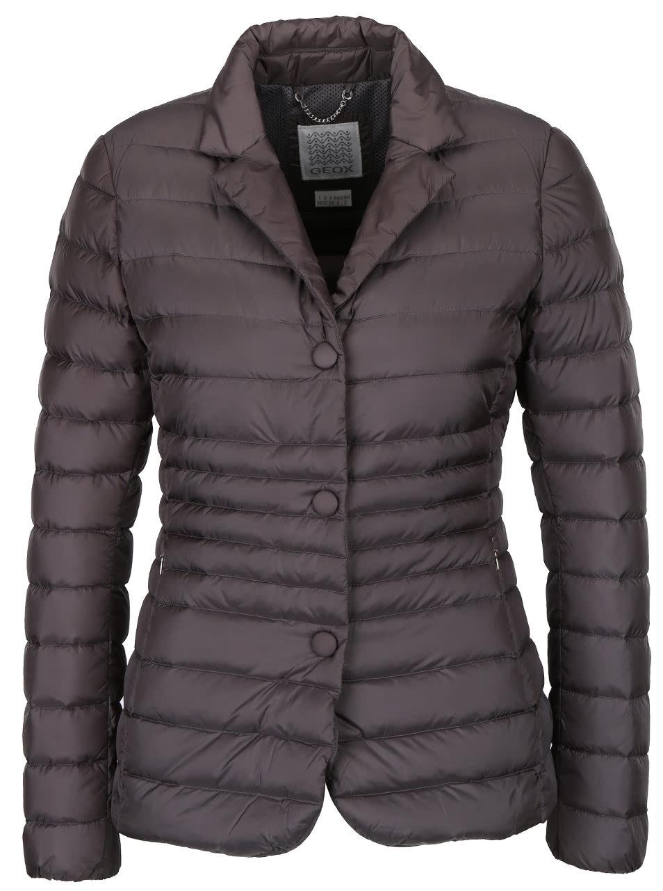 58b5f5ce3 Sivá dámska bunda s gombíkmi Geox Down | ZOOT.sk