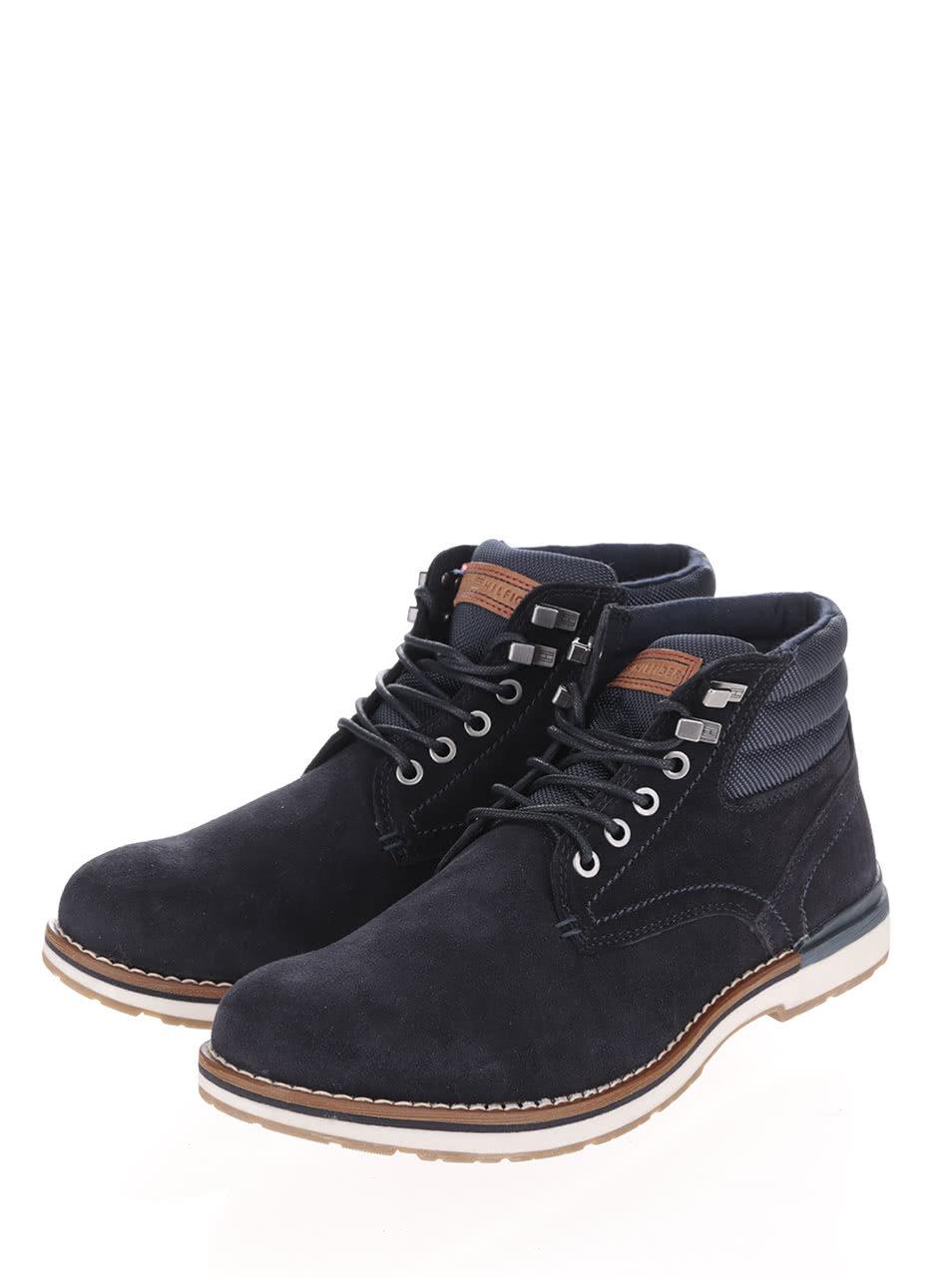 05748dfc6f Tmavomodré pánske semišové členkové topánky Tommy Hilfiger ...