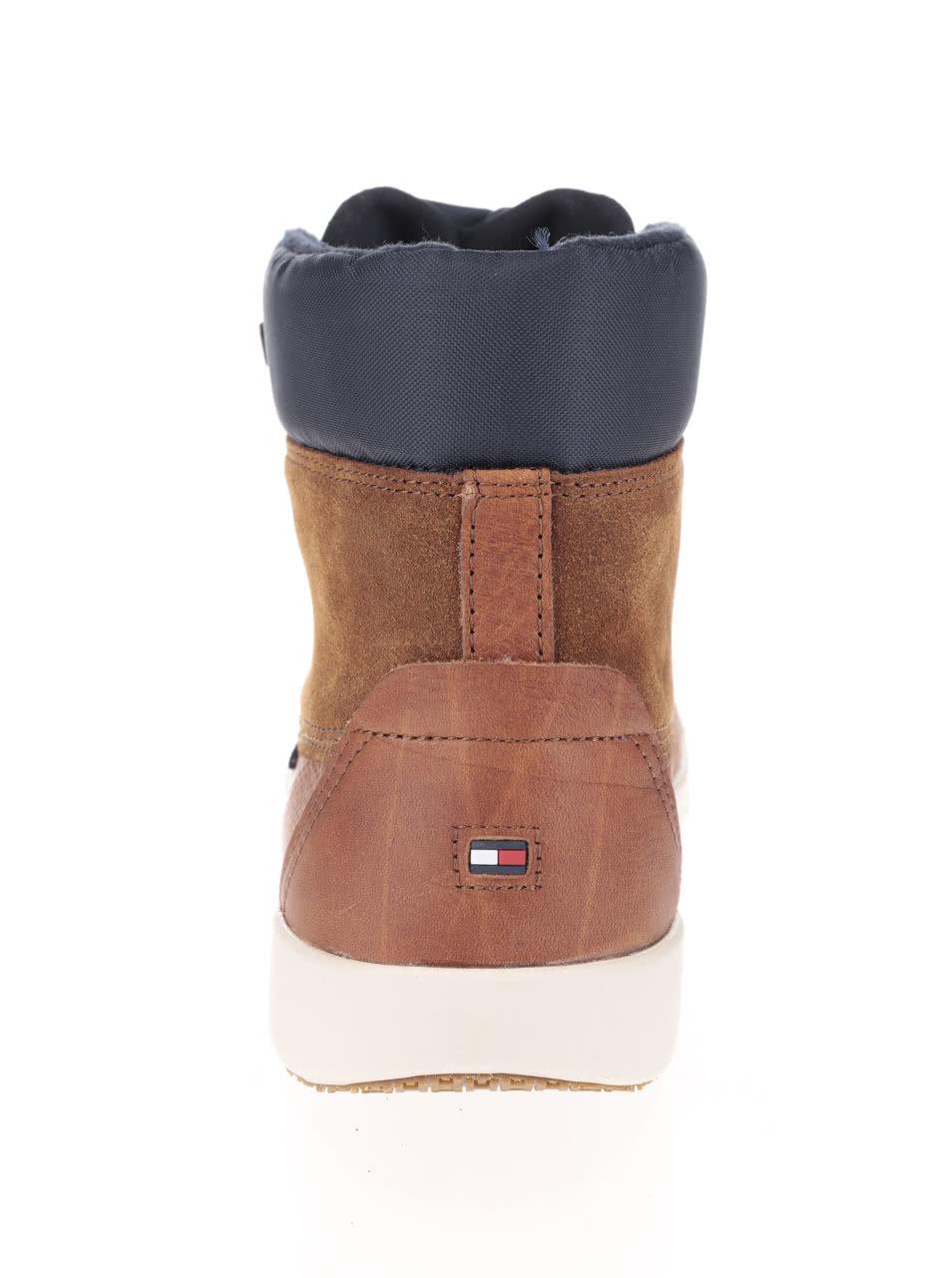 ccbaa218ec Svetlohnedé kožené pánske topánky s modrým lemom Tommy Hilfiger ...