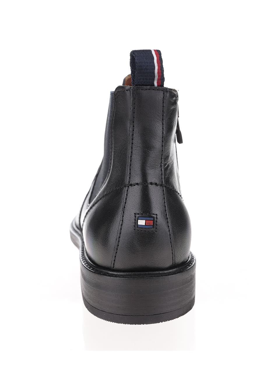 6e50f87e808 Černé pánské kožené chelsea boty Tommy Hilfiger ...